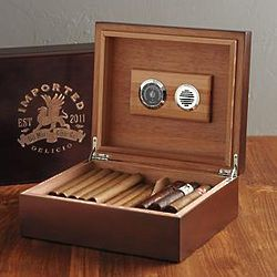 Laser-Etched Cigar Humidor
