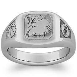 Personalized Sports and Mascots Tungsten Signet Ring