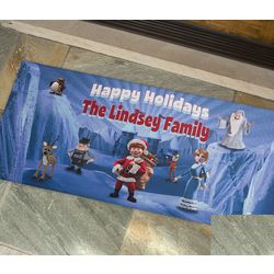 Oversized Personalized Santa Claus Is Comin' to Town Doormat