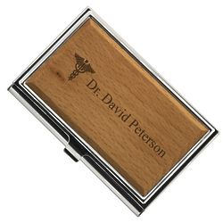 Doctor Caduceus Engraved Wooden Business Card Case