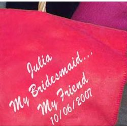 "Personalized ""My Bridesmaid, My Friend"" Embroidered Blanket"