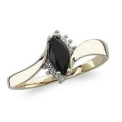 Onyx Marquise and CZ Accent Ring
