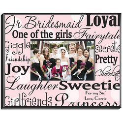 Personalized Jr. Bridesmaid Frame - Black on Pink