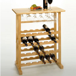 24 Bottle Wine Rack with Glass Holder