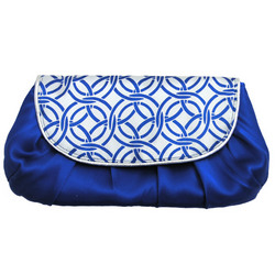 Blue Chain Link Silk Clutch