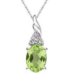 Peridot and Diamond Pendant in 10k White Gold