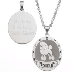 Personalized Stainless Steel Poodle Pendant