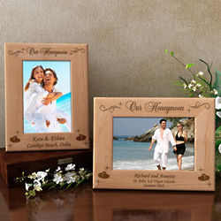 Personalized Our Lovely Honeymoon Wooden Picture Frame