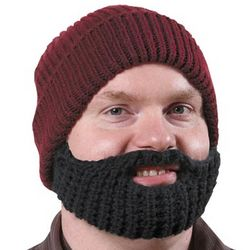 Short Black Beard and Maroon Knit Hat
