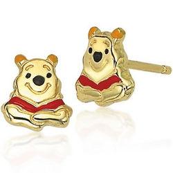 Winnie the Pooh Earrings in 14k Gold with Enamel