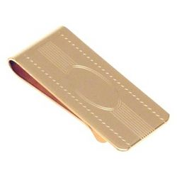 Engravable Gold Plated Linear Center Money Clip