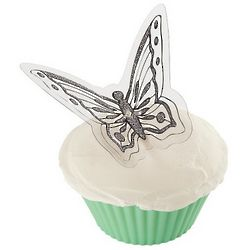 Elegant Butterfly Silver Cake Picks
