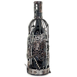 Steampunk Raw Metal Wine Cork Holder