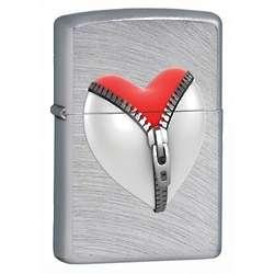 Unzipped Heart Chrome Arch Zippo Lighter