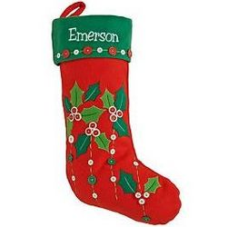Personalized Holiday Button Christmas Stocking