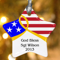 Personalized American Flag Star Christmas Ornament