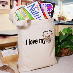 Love My Cat Personalized Canvas Tote Bag