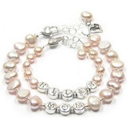 Mother and Daughter Personalized Pearl Bracelet Set