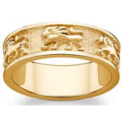 Gold Over Sterling Leo Zodiac Band