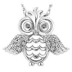 Diamond Owl Pendant Necklace in Sterling Silver