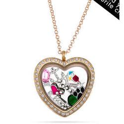 Gold Heart Charm Floating Locket