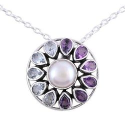 Charming Wheel Blue Topaz & Amethyst Pearl Pendant Necklace