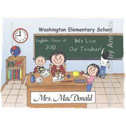 Elementary Teacher Friendly Folks Personalized Cartoon