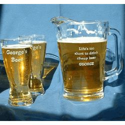 Personalized Engraved Hourglass Pilsner and Beer Pitcher Set