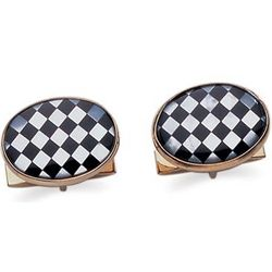 Onyx and Mother of Pearl Cuff Links in 14k Yellow Gold