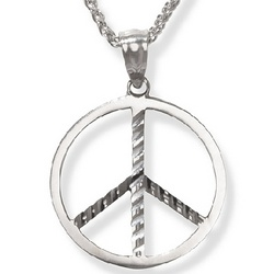 14k White Gold Peace Sign Pendant