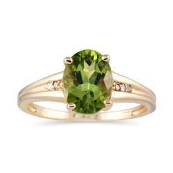Oval Cut Peridot and Diamond Ring in Yellow Gold