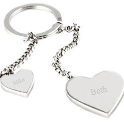 Personalized Glitter Heart Keychain