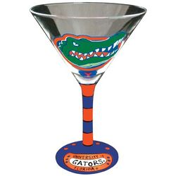 Florida Gator Head Handpainted Martini Glasses