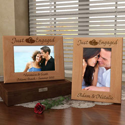 Personalized Just Engaged Wooden Picture Frame