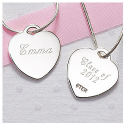 Personalized Silver Heart Graduation Necklace