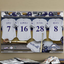 Large Personalized Milwaukee Brewers Locker Room Canvas Print