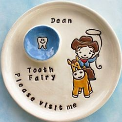 Personalized Cowboy Tooth Fairy Plate