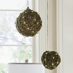 LED Trig and Moss Hanging Orbs