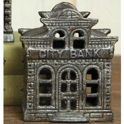 Cast Metal City Bank Paperweight