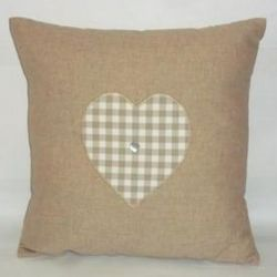 Modern Linen and Cotton Heart Cushion