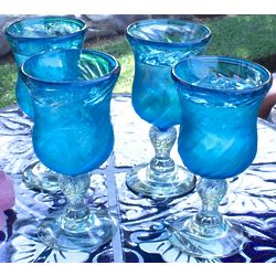 Carribbean Sea Handblown Goblets
