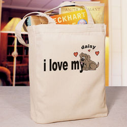 Love My Dog Personalized Canvas Tote Bag