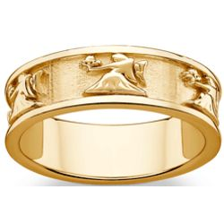 Gold Over Sterling Virgo Zodiac Band