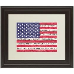 Liberty, Home, Faith US Flag Framed Art Print