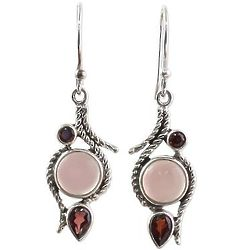 Shades of Red Garnet and Chalcedony Dangle Earrings