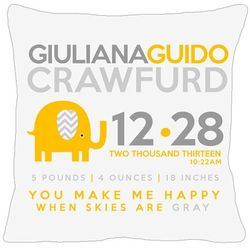 New Baby's Personalized Birth Announcement Yellow Elephant Pillow