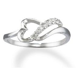 14k White Gold Abstract Diamond Heart Promise Ring