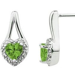 Peridot and Diamonds Heart Shaped Earrings in White Gold