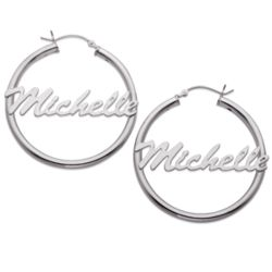 Sterling Silver Large Name Hoops