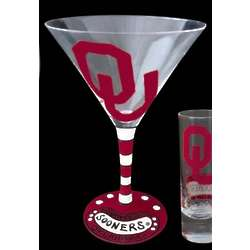 Oklahoma University Sooners Handpainted Martini Glasses